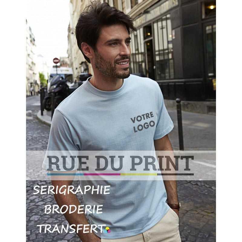 Tee-shirt publicité bleu ciel profil Sof 100% coton peigné ringspun, 185 g/m² coton prérétréci 2x bande de propreté aux épaule