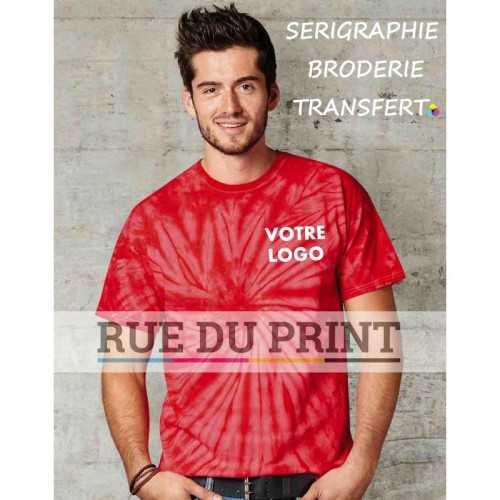 Tee-shirt publicité Spiral rouge profil 100% coton (jersey), 165 g/m² fil open end t-shirt batik bande de propreté