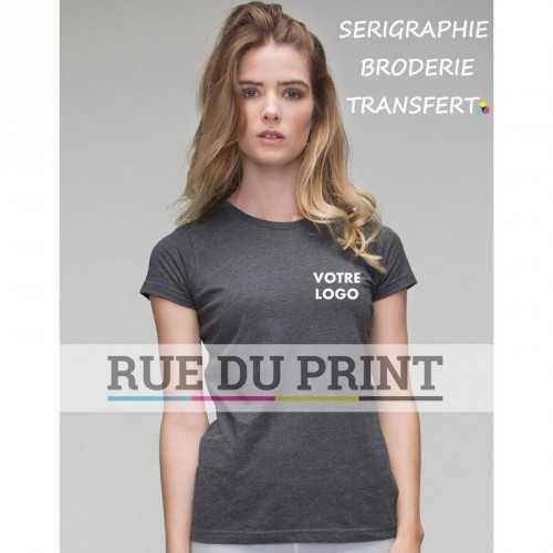 Tee-shirt publicité gris pofil femme Duo 60% coton, 40% polyester, 145 g/m² jersey simple doux bord côte à l'encolure arrondie