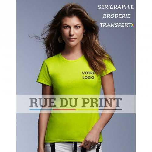 Tee-shirt jaune fluo face femme Fashion 100% coton ringpsun prérétréci 150 g/m² Heather Grey: 90% coton, 10% polyester, toutes