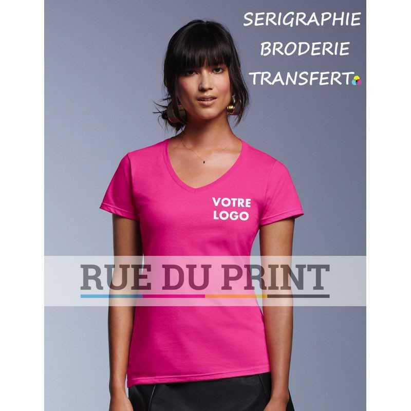Tee-shirt publicité fuhia face femme Fashion col V 100% coton ringspun et prérétréci, 150 g/m² heather grey: 90% coton, 10% pol