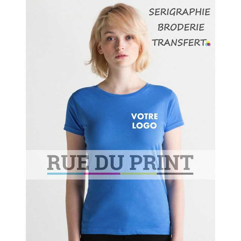 4709dd78a24 Tee-shirt publicité bleu ciel profil femme léger 100% coton peigné ringspun