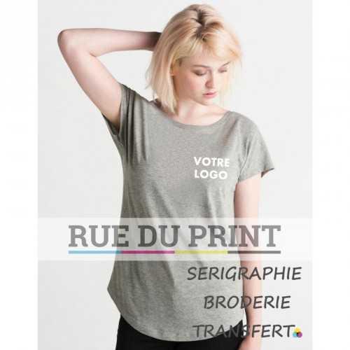 Tee-shirt publicité gris profil femme Ample 100% coton peigné ringspun, 125 g/m² Heather Grey melange: 90% coton, 10% viscose