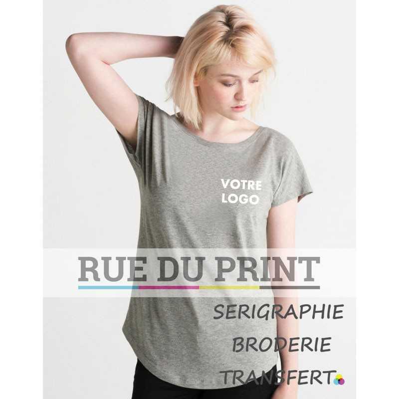 8f2d6c4f441 Tee-shirt publicité gris profil femme Ample 100% coton peigné ringspun