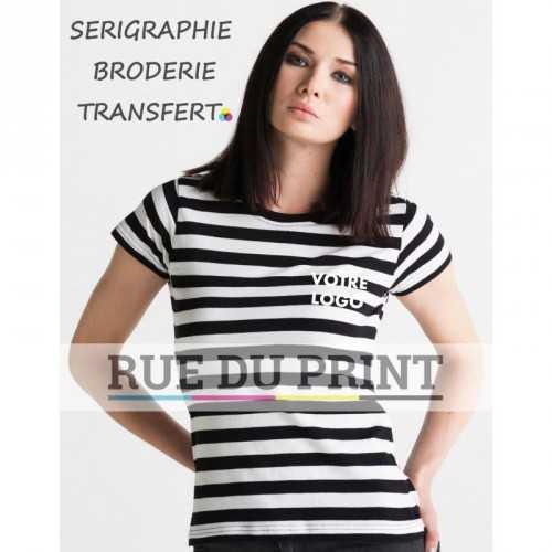 Tee-shirt publicité noir/blanc profil femme rayé 100% coton peigné ringspun, 150 g/m² jersey simple ultra doux pour une surface