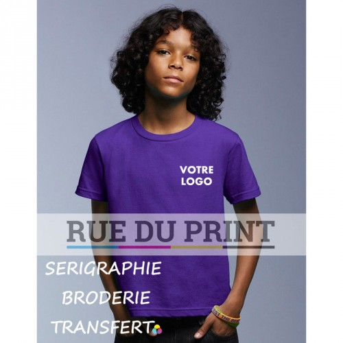 Tee-shirt publicité violet face Basic Fashion 100% coton ringspun et prérétréci, 150 g/m² Heather grey: 90% coton, 10% polyest