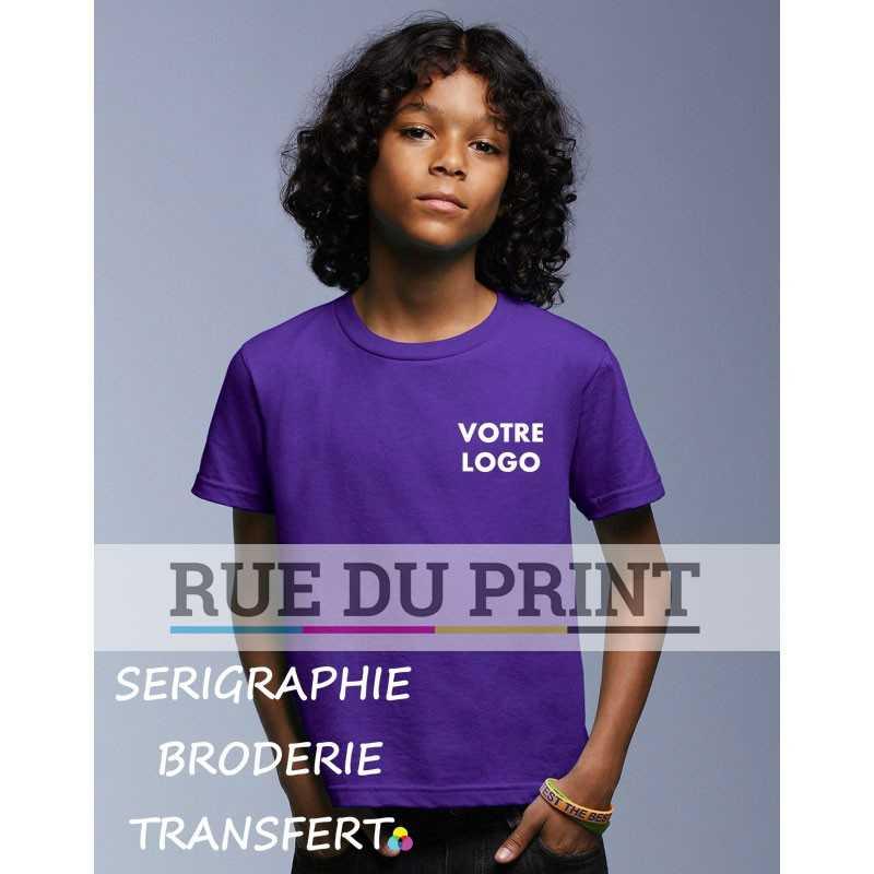 Tee-shirt publicité violet face Basic Fashion 100% coton ringspun et prérétréci, 150 g/m² Heather grey: 90% coton, 10% polyest