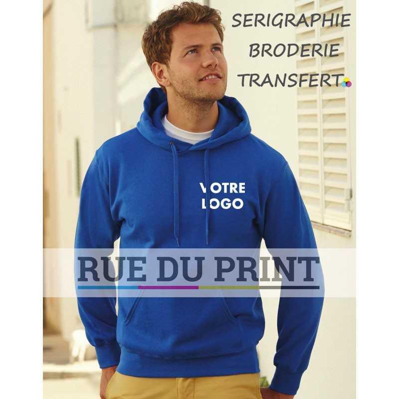 Sweat publicité shirt poche kangourou 280 g/m² 70% coton ringspun, 30% polyester capuche doublée avec cordon de même couleur