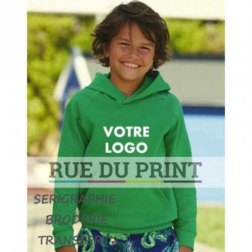 Sweat publicité léger pour enfant 240 g/m² 80% coton, 20% polyester polaire non brossé très léger