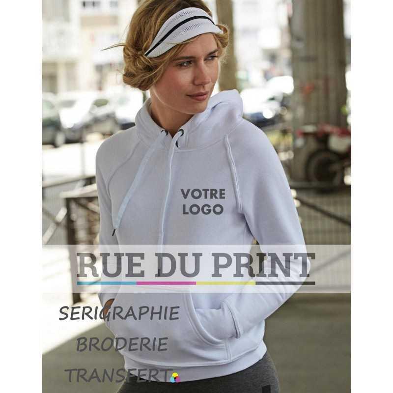 Sweat publicité à capuche femme 310 g/m² 70% coton ringspun, 30% polyester coton égyptien à longues fibres