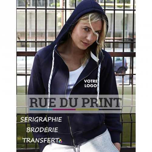 Sweat publicité femme à fermeture 310 g/m² 70% coton ringpsun, 30% polyester coton égyptien à longues fibres