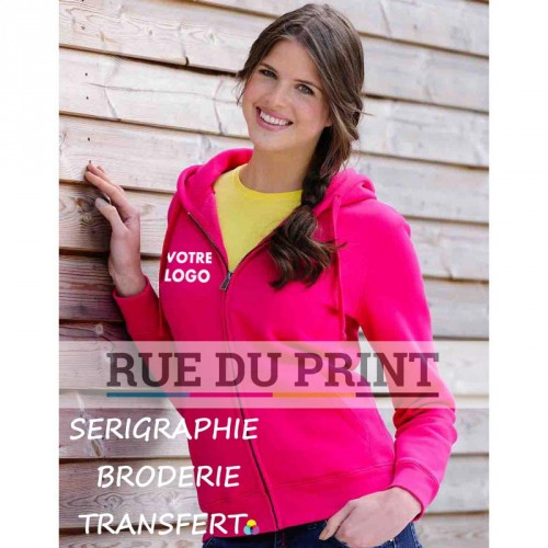 Sweat publicité femme à fermeture Authentic 280 g/m² 80% coton ringspun peigné, 20% polyester (tissu triple épaisseur)