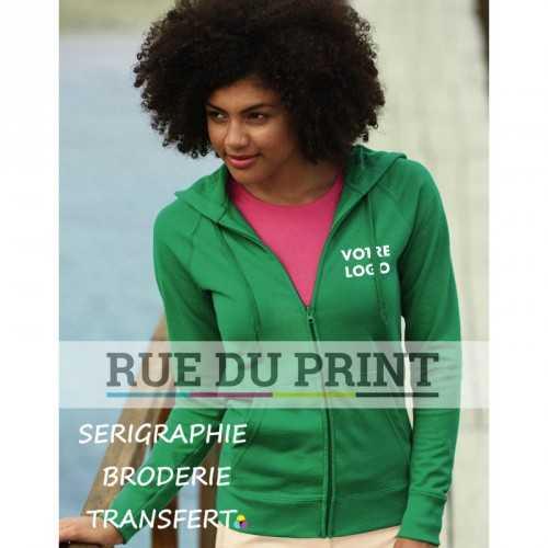 Gilet publicité sweat femme léger 240 g/m² 80% coton, 20% polyester polaire non brossé très léger