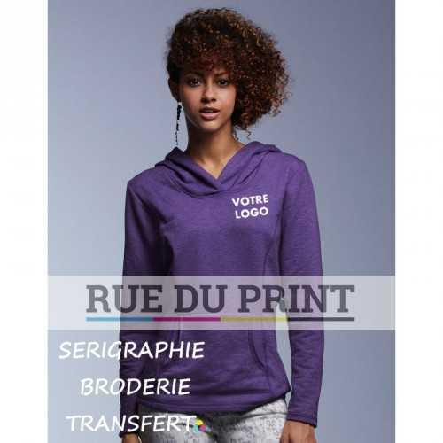 Sweat publicité femme Terry 237 g/m² 60% polyester (polaire terry), 40% coton ringspun large capuche de même couleur