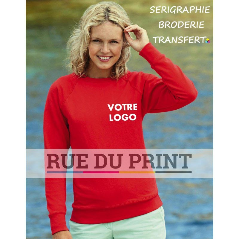 Sweat publicité cintré femme Raglan 240 g/m² 80% coton (fil Belcoro®), 20% polyester
