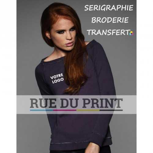 Sweat publicité large femme Raglan 300 g/m² 75% coton, 25% polyester couleur spéciale: dégradé de gris