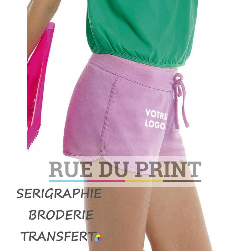 Short publicité femme été 80% coton, 20% polyester, 240 g/m² french terry ceinture élastique douce avec cordons dans le même t