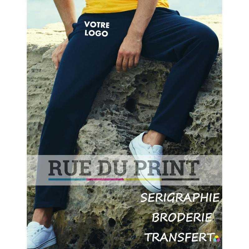Pantalon publicité jogging léger 240 g/m² 80% coton (fil Belcoro®), 20% polyester polaire non brossé très léger