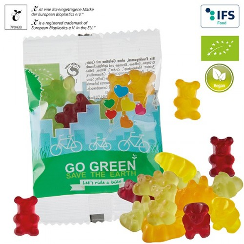 Oursons personnalisables BIO pour végétaliens, sachet compostable Autres formes standards disponibles à partir de 320 kg. * Cer