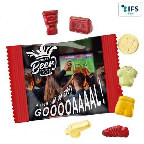 Gommes personnalisables de fruits mélange foot avec 10 % de fruits à partir de jus de fruits concentré, arômes naturels et col