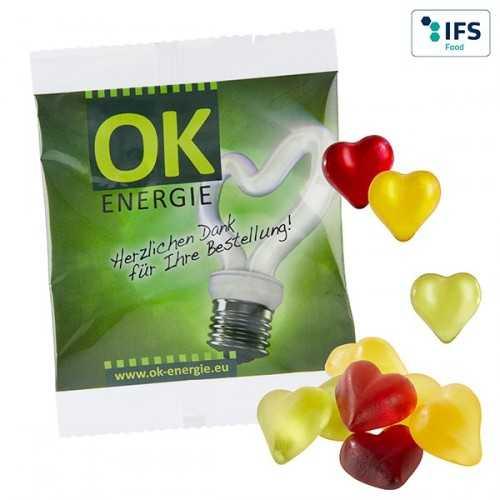 Cœurs personnalisés multicolores avec 10 % de fruits à partir de jus de fruits concentré