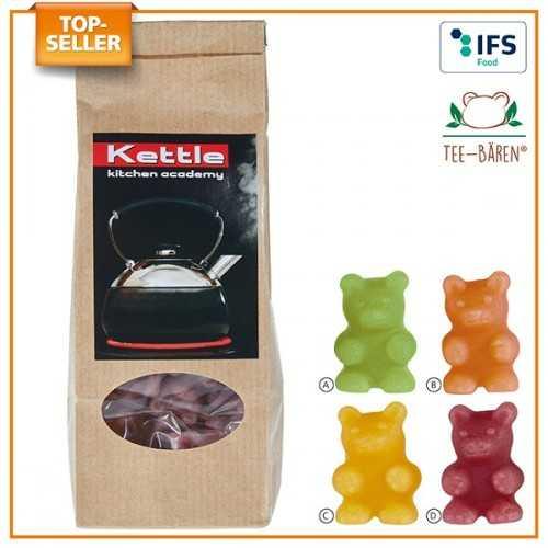 Oursons-Tisane® personnalisable en sachet à fond plat 0 % de fruits à partir de jus de fruits concentré, arômes et colorants vé