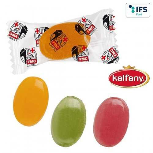 Bonbons publicitaires en flowpack transparent ou blanc (laminage mat/brillant).