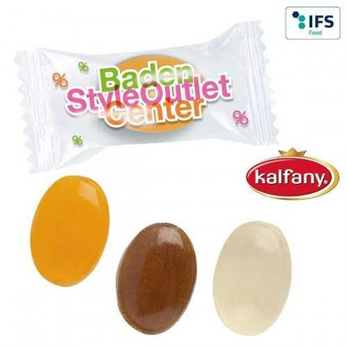 """Bonbons publicitaires """"nos spécialités"""" en flowpack transparent ou blanc (laminage mat/brillant)."""