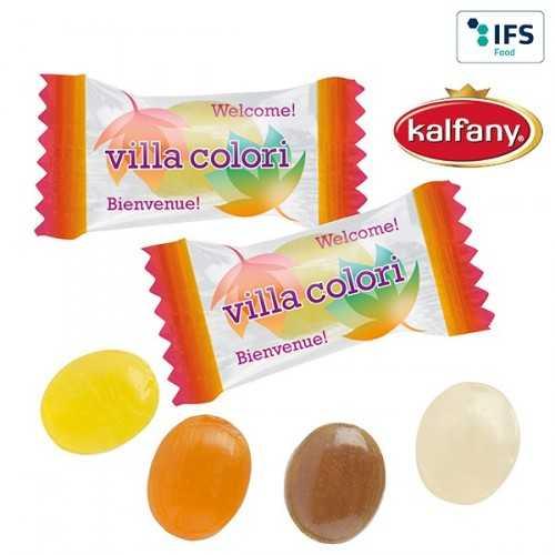 """Mini-bonbons publicitaires""""nos spécialites"""" en flowpack transparent ou blanc (laminage mat/brillant). Marque"""