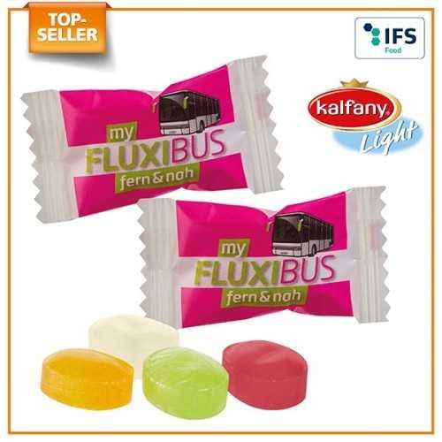 Light publicitaire Mini Bonbons dès 25 kg avec jus de fruits concentré, en flowpack blanc (laminage mat/brillant) ou transparen