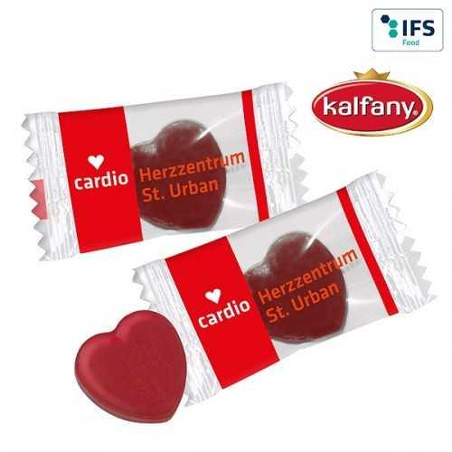 Bonbons publicitaires en forme de cœur transparent ou blanc