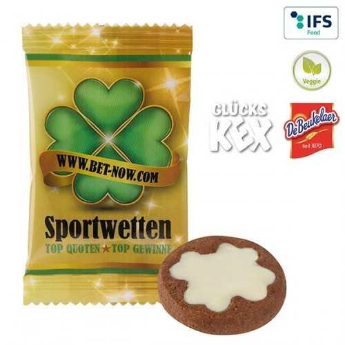 """Biscuit publicitaire """"Bonheur"""" 4.0 - chocolat blanc en flowpack blanc ou transparent, laminage mat/brillant."""