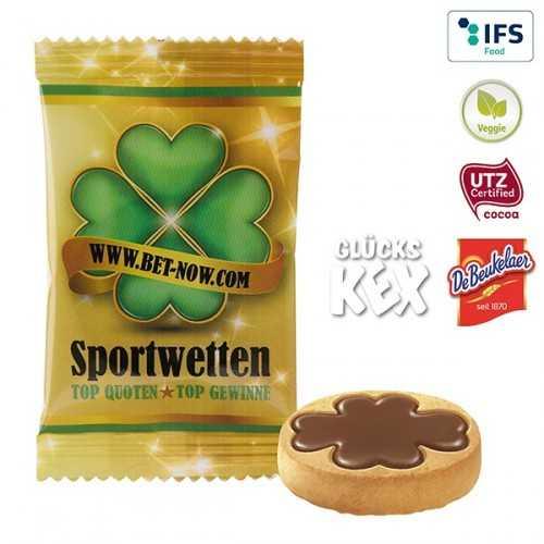 """Biscuit personnalisable """"Bonheur"""" 4.0 - chocolat au lait en flowpack blanc ou transparent, laminage mat/brillant."""