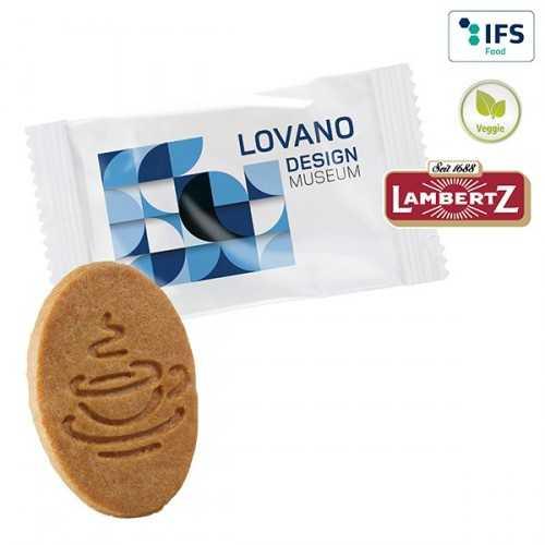 Biscuit publicitaire pour café en flowpack transparent ou blanc, laminage mat/brillant.