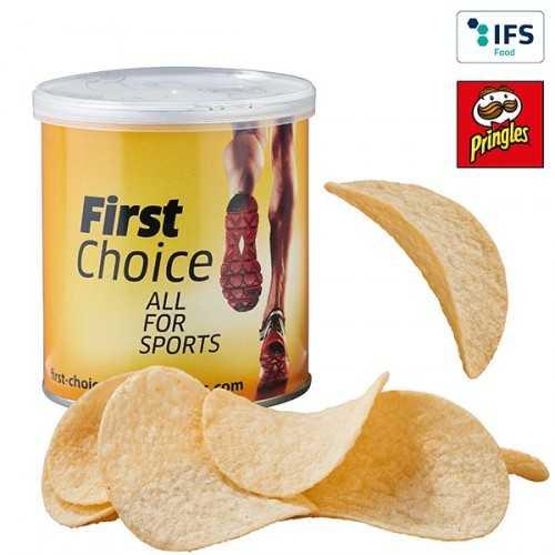 MINI publicitaire PRINGLES avec fermeture aromatique et banderole publicitaire personnalisée.