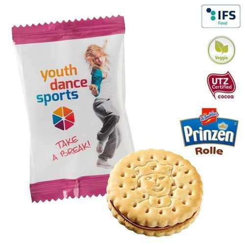 """Mini personnalisé Biscuit """"Prince"""" en flowpack transparent ou blanc, laminage mat/brillant."""