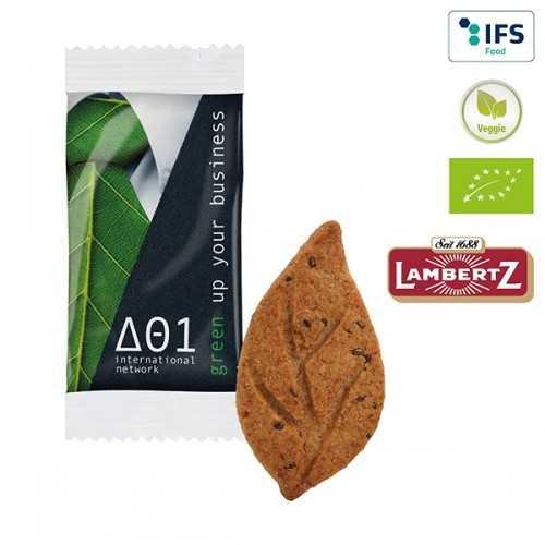 Biscuit personnalisable Bio emballé individuellement en flowpack transparent ou blanc,