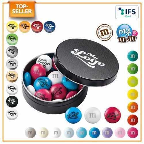 My M&M's® publicité en boîte logo sur les bonbons en chocolat.