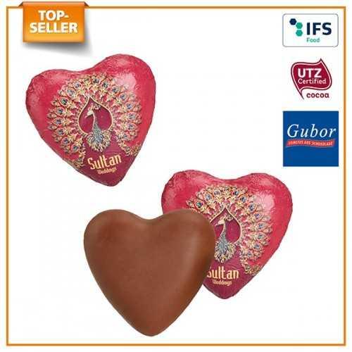 Cœur personnalisable en chocolat emballé individuellement sous feuille d'aluminium, extérieur blanc, argenté ou doré, intérieur