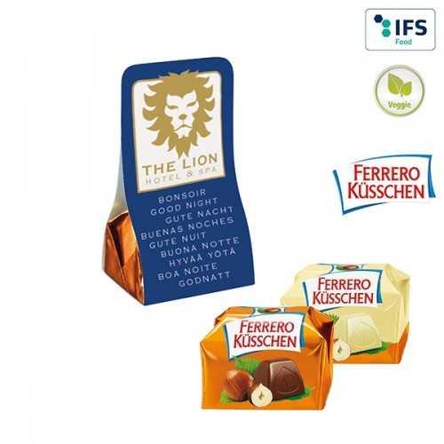 Küsschen personnalisable de Ferrero dans un fourreau publicitaire. Attention, pause estivale.