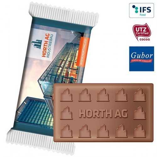 Chocolat personnalisé SUPER-MAXI avec votre logo, emballée individuellement dans un flowpack transparent, blanc ou aluminisé,