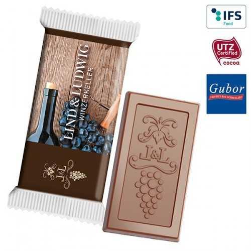 Chocolat personnalisé MAXI avec votre logo, emballée individuellement dans un flowpack transparent, blanc ou aluminisé, lamina