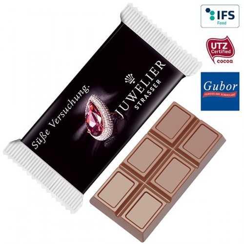 Tablette personnalisable de chocolat MAXI emballée individuellement dans un flowpack transparent,