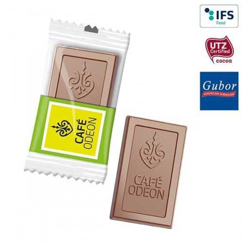 Chocolat personnalisé MIDI avec votre logo, emballée individuellement dans un flowpack transparent