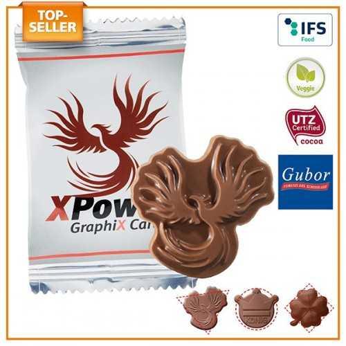 Logo en chocolat personnalisé emballé individuellement dans un flowpack transparent, blanc ou aluminisé, laminage mat/brillant