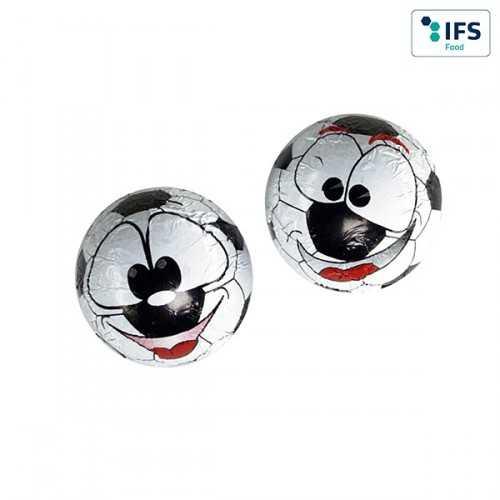 Ballon publicité de foot en chocolat 2 motifs en assortiment, verso aplati, chocolat au lait, emballé individuellement en feui