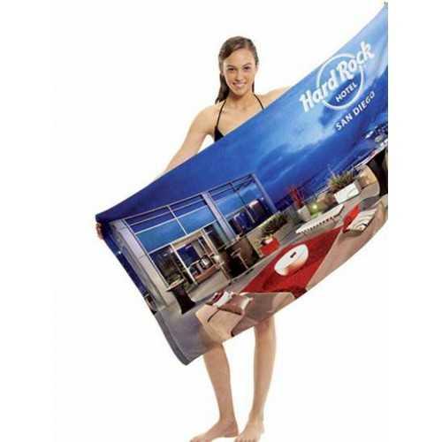 serviettes personnalisables de bain en polyester 100% microfibres velours (recto imprimé) Dos : 100% coton.