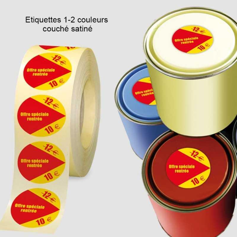 Etiquettes rouleaux personnalisées 1-2 couleurs