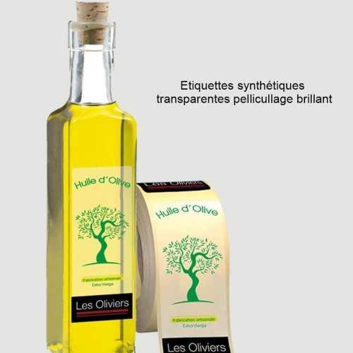 Etiquettes synthétiques transparents