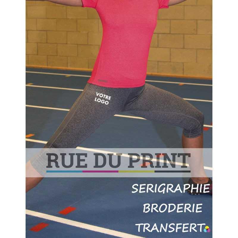 Pantalon publicité femme Fitness Capri 230 g/m², 92% polyester, 8% élasthane (jersey brossé) Poids léger Respirant et séchage